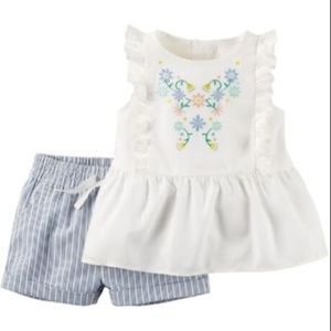 Carter's Embroidered ruffle top and striped shorts
